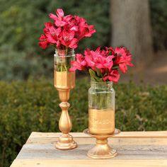 http://www.ilovetocreate.com/ProjectDetails.aspx?name=Glass+Half+Gold+Canning+Jar+Vases+