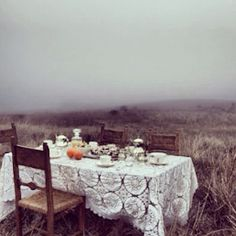 Who needs iPhones, computers or ambition when there are long wooden tables full of tea and oranges in the middle of empty foggy fields just waiting for some foxy ladies to come along and have an inappropriately long lounge Sesh and all-girls soirée?