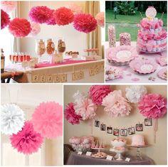 decoracion de baby shower con pompones