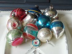Vintage Glass Ornaments, Christmas, Holiday, Tree Decorations, Round, Balls, Teardrop, Blue, Silver, Red, Assortment