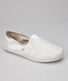 Take a look at this Silver & White Glitter Slip-On Shoe on zulily today!