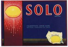 SOLO Vintage Lemon Crate Label, Citrus