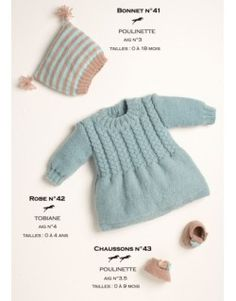 Modèle chapeau et bottines - Patron tricot gratuit - Model hat and booties – Free knitting pattern Chapeau et bottines Knitting For Kids, Baby Knitting Patterns, Baby Patterns, Free Knitting, Knitting Projects, Drops Design, Baby Girl Romper, Baby Dress, Brei Baby