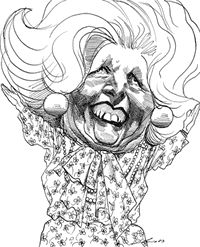 david levine caricature of Margaret Thatcher
