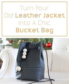 This amazing and useful leather bucket bag was made form an old jacket!! Full DIY on how to transform your old clothes into an amazing new and chic item here: http://www.ehow.com/how_12343754_turn-old-leather-jacket-chic-bucket-bag.html?utm_source=pinterest.com&utm_medium=referral&utm_content=freestyle&utm_campaign=fanpage