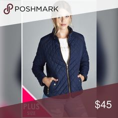 💕NEW💕Navy Bomber Jacket 💕💕Quilted Padding with piping details. 100% Polyester. Also available in Black and Olive. 💕💕 Jackets & Coats
