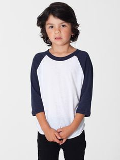 American Apparel BB153 Toddler Poly-Cotton 3//4 Sleeve Raglan