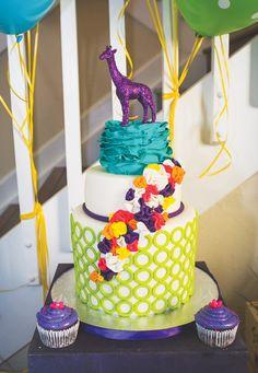 Colorful Wild Child Safari Party Cake