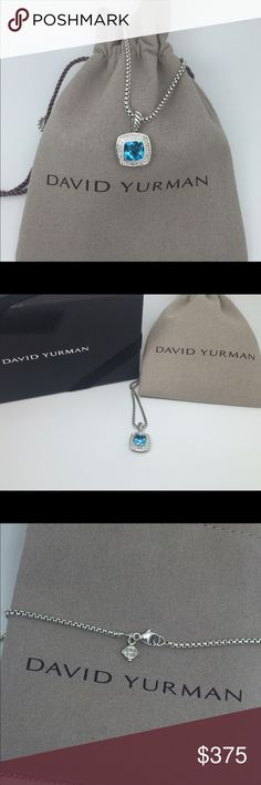 David Yurman albion blue topaz diamond necklace ! David Yurman Petite Albion 7mm Blue Topaz & Diamonds Necklace W/ Pouch  The Perfect Gift - David Yurman 7x7mm Blue Topaz & Diamonds Necklace!   Length chain - 17 Inch!!! ·         Sterling silver   ·         Faceted BLUE TOPAZ, 7 x 7mm   ·         Pavé diamonds, 0.17 total carat weight   ·   Pendant 11x11mm  ·  Baby Box Chain, 1.7mm wide  ·  Lobster Clasp    ·   Split-Shank David Yurman Jewelry Necklaces