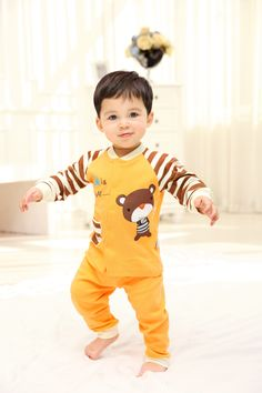 2015 New Cute Fashion Spring Fall Autumn Baby Clothing Sets Unisex Factory Direct Clothing Cheap Character Newborn Clothing Suits Cotton For 0-24M Baby Boy Baby Girl Clothes Set  Brand Infant Garment Fashion Striped Orange Roupas Bebes Clothes Set Suits China Brand