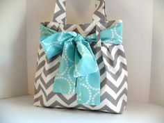 Handbag Made of Chevron Fabric and Large Aqua Bow by fromnancy - love the bow! Inspiration...no pattern