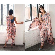 Charvi Dutta wearing Dhoti-Saree-Pants from Pasha India Dhoti Saree, Drape Sarees, Saree Draping Styles, Saree Dress, I Dress, Dress Indian Style, Indian Dresses, Ethnic Outfits, Indian Outfits