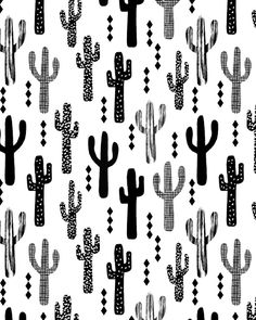 Cactus desert southwest palm springs festival house plant succulent terrarium tribal native nature Art Print by CharlotteWinter Wallpaper Azul, Pattern Wallpaper, Screen Wallpaper, Black And White Wall Art, Black And White Colour, Wallpaper Minimalista, Poster Minimalista, Image Cactus, Palm Springs