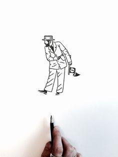 VISLA Graphic - illustration and logo design -- flag man / suit / beard