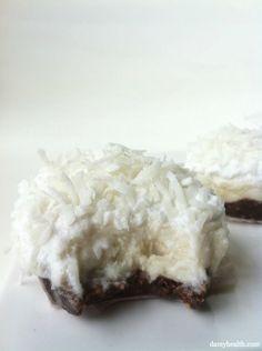 Raw Coconut Cream Pie with Dark Chocolate Crust - gluten free, date free, no-bake, grain free, raw, vegan, clean, sweet and creamy