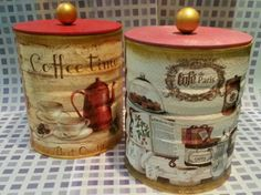 Decoupage Aluminum Can Crafts, Tin Can Crafts, Diy And Crafts, Decoupage Vintage, Decoupage Paper, Tin Can Art, Tin Art, Coffee Can Crafts, Diy Cans