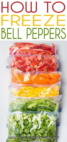 Freezing Vegetables, Frozen Vegetables, Fruits And Veggies, Freezing Fruit, Freezing Bell Peppers, Canning Bell Peppers, How To Freeze Peppers, Recipe With Bell Peppers, Green Bell Peppers