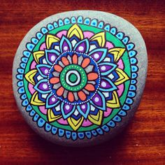 Flower power mandala stone.