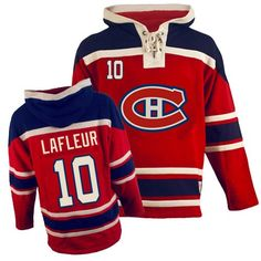 Men's Old Time Hockey Montreal Canadiens #10 Guy Lafleur Authentic Red Sawyer Hooded Sweatshirt