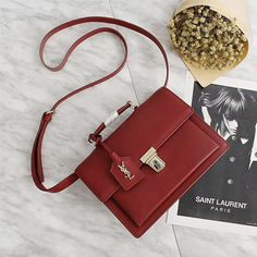 Saint Laurent Medium High School Bag In Leather Red - Women's Handbags Chloe Handbags, Hermes Handbags, Fashion Handbags, Purses And Handbags, Fashion Bags, Sac Hermes Kelly, Yves Saint Laurent Tasche, High School Bags, Ysl Bag