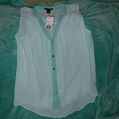 BRAND NEW mint/aqua colored blouse with no sleeves So adorable!!! This is a see through top with gold buttons all the way down. Would be perfect for any occasion.  :) Forever 21 Tops Tank Tops
