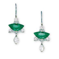 A PAIR OF EMERALD, DIAMOND AND TSAVORITE GARNET EAR PENDANTS, BY WALLACE CHAN. Each set with a shield-shaped emerald, within a triangular-shaped openwork panel pavé-set with brilliant-cut diamonds, suspending a marquise-cut diamond, the reverse futher enhanced by circular-cut tsavorite garnets, mounted in titanium, 4.5cm long. Signed Wallace Chan (2). #WallaceChan #HauteJoaillerie #FineJewelry