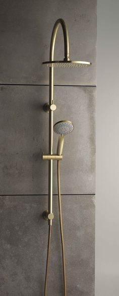 Browse our full range of Dual Showers online at #faucetstrommen and explore our colour finish options. This is our NEW Pegasi Dual Shower 600 with curved arm, 100 slimline hand shower and 250 head in Raw Brushed Brass.