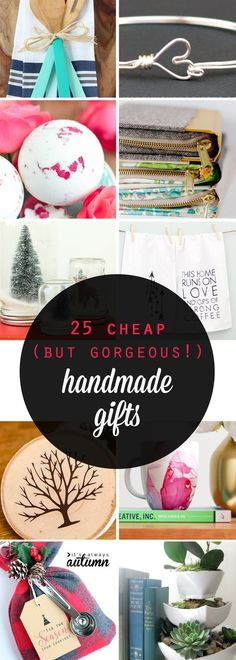 25 cheap {but gorgeous!} DIY gift ideas - It's Always Autumn Great list of gorgeous handmade gifts that are cheap and easy to make! Inexpensive DIY holiday and Christmas gift ideas . Diy Gifts To Make, Diy Presents, Handmade Christmas Gifts, Easy Gifts, Cheap Gifts, Handmade Ornaments, Diy Holiday Gifts, Diy Gifts Homemade, Cheap Friend Christmas Gifts
