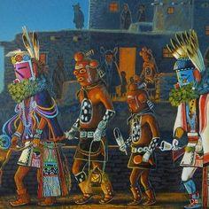 Kachina Dolls Original Painting signed by the Navajo artist JC Black $280.00 #nativeamericanart #alltribes