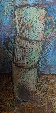 Cups, Oil pastels on black paper by Maria Horvathova 2015