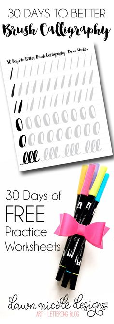 30 Days to Better Brush Calligraphy Challenge. Thirty days of Free Brush Calligraphy Practice Sheets to help you grow your skills with daily practice!