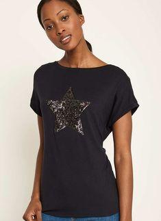Navy Sequined Star Tee | Mint Velvet Navy, Stars, My Style, Mens Tops, Mint, Velvet, Clothes, Shopping, Holiday