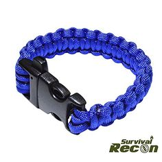 Survival Recon  Blue 550 Paracord Survival Bracelet Solid Strong Buckle With Loud Whistle For Emergency Calls Length 10inches Wrist Size 9inch  10inch Tough And Durable ** Click image to review more details.Note:It is affiliate link to Amazon.