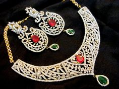 Semi-Bridal / Bridal Beautiful Diamontic Necklace set with Earrings in Golden Finish | VastradiJewels.com