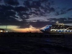Cozumel, Mexico. Lovely sunset and our ship the Carnival Victory.