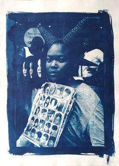 Available for sale online, Umqhele II by Award finalist Nonkululeko Sibande, cyanotype on paper size 55 x 76 cm unframed. Pencil Test, Contemporary African Art, South African Artists, Cyanotype, Art Fair, State Art, Online Art Gallery, Artist At Work, Fine Art Photography