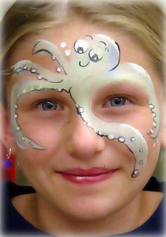 octopus face paint ... schmink octopus -Gerepind door www.gezinspiratie.nl #schminkspiratie #schmink #kids