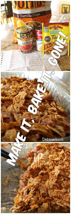 Easy and delicious Chicken Dorito casserole. Perfect Appetizer or Dinner! Super bowl is coming up. Mexican Dishes, Mexican Food Recipes, Yum Yum Chicken, Chicken Dips, Rotisserie Chicken, Food Dishes, Main Dishes, One Pot Meals, Casserole Dishes