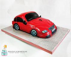 BMW car - cake by Iwona Sobejko Car Cakes, Cake Decorating, Bmw, Train, Design, Design Comics