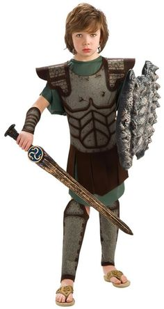 Heroic Perseus Boy's Costume from the movie Clash of the Tittans includes green tunic, brown printed chest armor, gauntlets and shin guards. Sword and shield not included. Boy Costumes, Movie Costumes, Costume Ideas, Halloween Games, Boy Halloween Costumes, Spirit Halloween, Halloween Fancy Dress, Halloween 2015, Kids Formal Wear