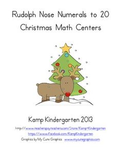 Rudolph Nose Numerals to 20 Christmas Math Centers $