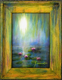 IMPRESSIONISM MONET STYLE SUNRISE WITH WATER LILIES ORIGINAL OIL PAINTING FRAMED #Impressionism