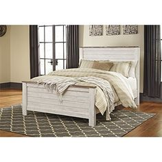 Queen Panel Bed in Whitewash http://amzn.to/2DwwGNy #rustic #rusticdecor #rusticfarmhouse #farmhouse #whitewash #antique #antiquefarmhouse #farmhouse #farmhousebedroom
