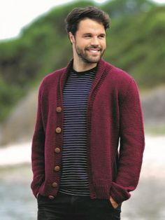 Men's shawl collared knitted cardigan in stocking stitch and rib featuring reverse fully fashioned shaping to give. See our great prices and fast service. Free Knitting, Knitting Patterns, Crochet Patterns, Shawl Cardigan, West Yorkshire, Autumn Theme, New Pins, Autumnal, Collars
