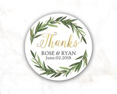 Wedding Favor Stickers Wreath stickers Greenery favor | Etsy Custom Wedding Favours, Wedding Labels, Personalized Stickers, Custom Stickers, Words Of Appreciation, Star Wedding, Wedding Stickers, Bridal Shower Favors, Custom Design