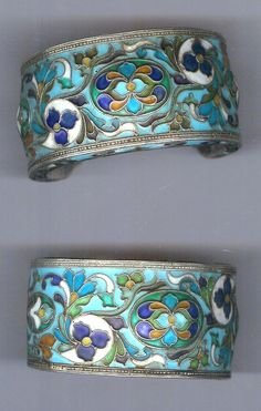 Cuffs , silver with enameling, Russian work, early 20th c Uzbekistan Archiives sold Singkiang