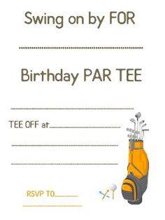Golf Theme Birthday Invite Party 50th