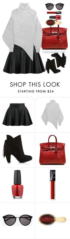 """""""Stella McCartney Oversized stretch wool-blend bouclé sweater"""" by thestyleartisan ❤ liked on Polyvore featuring STELLA McCARTNEY, Hermès, OPI, NARS Cosmetics, Yves Saint Laurent and AERIN"""