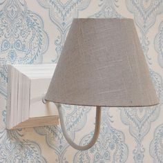 French white square wall light with cotton coolie shade