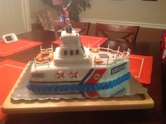 Coast Guard Boat Cake Coast Guard Boat Cake Made this for my daughters 23rd birthday and to celebrate her joining the Coast Guard. All made of fondant except the... #top-cakes #coast-guard #cakecentral
